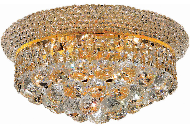 "Primo 14"" Flush-Mount, Gold Finish, Clear Crystal, Royal Cut Crystal."