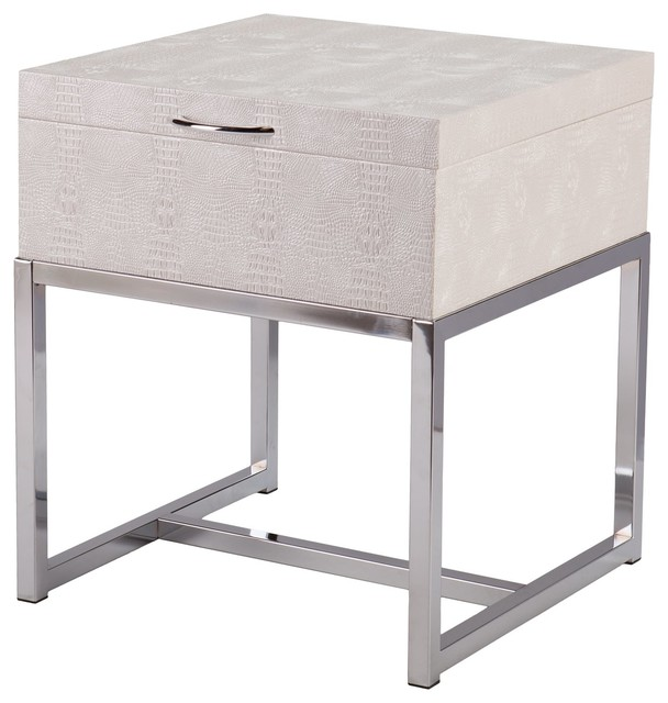 Sei vivienne reptile storage end table cream contemporary side tables and end tables by - Contemporary side tables with storage ...