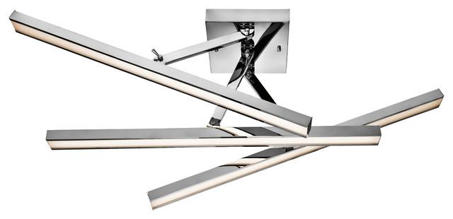 Energy Smart 1 Light Semi Flush Mount In Chrome With White Acrylic Glass.