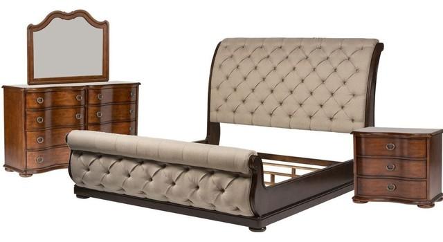 Liberty Furniture Cotswold Upholstered Sleigh Bedroom Set Traditional Bedroom Furniture Sets