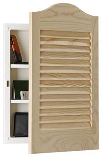 """Louver Door 16""""x24"""" Arch Recess Mount Panel Door Adjustable Shelves"""
