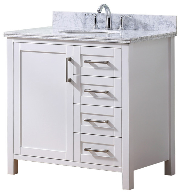 "36"" Solid Wood Sink Vanity With Carrera White Marble Top."