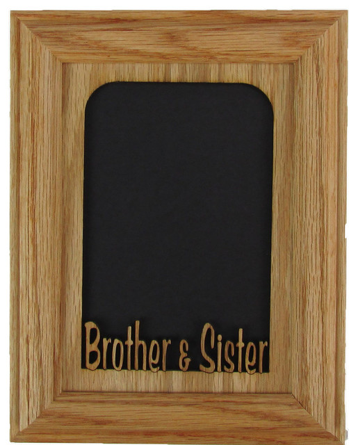 """Brother and Sister Vertical Oak Picture Frame and Oak Matte, 5""""x7"""" transitional-picture-frames"""