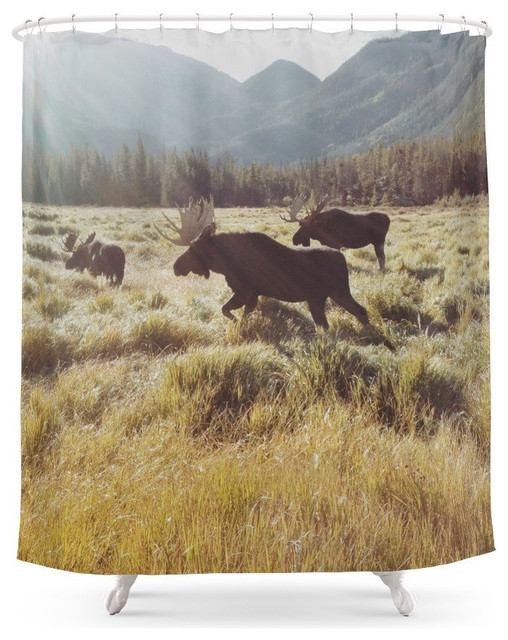 Three Meadow Moose Shower Curtain