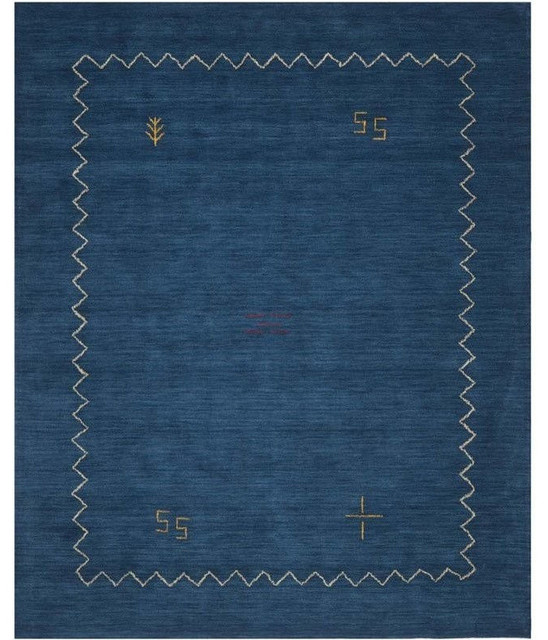 "Blue And White Scandinavian Rug: Safavieh Himalaya Blue Shag Rug, Runner 2'3""x6"