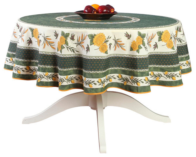 Menton Green French Provencal Stain Resistant Tablecloth, Round.