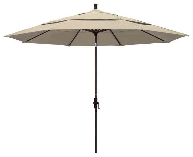 11&x27; Aluminum Umbrella Collar Tilt Bronze, Sunbrella, Antique Beige.