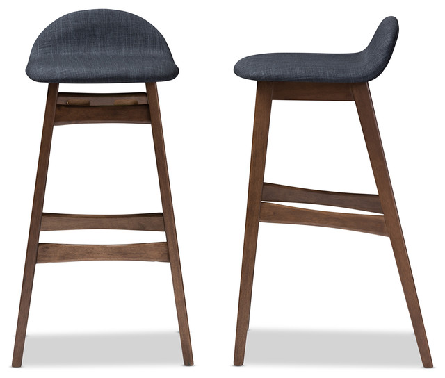 Bloom Walnut Wood Finishing 30 Inches Bar Stool Set of 2  : midcentury bar stools and counter stools from www.houzz.com size 640 x 544 jpeg 49kB