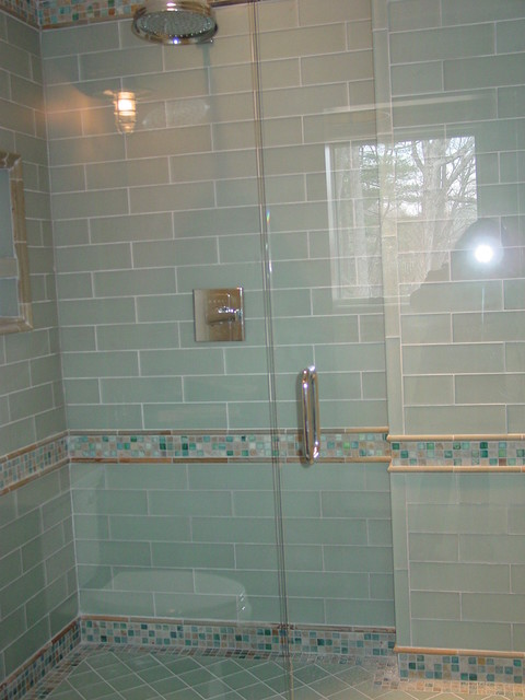 Blue Glass Tile Shower traditional