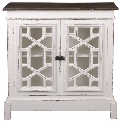 Cottage Lattice Cabinet, Distressed White