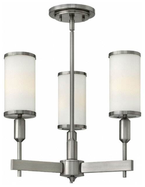 Hinkley Princeton Brushed Nickel And Etched Opal Glass 3-Light Mini Chandelier.