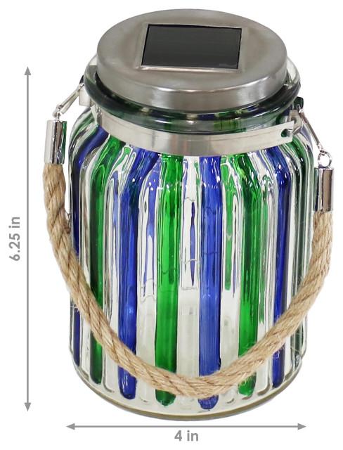 Sunnydaze Blue and Green-Striped Solar Lantern Lights With LED, Set of 3