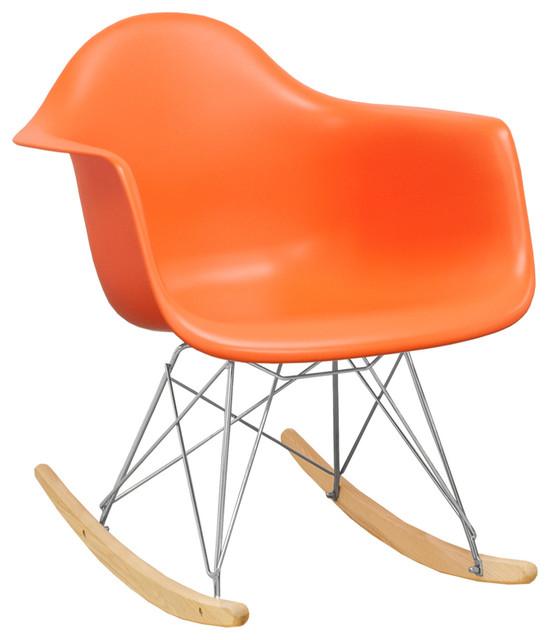 Paris Tower Modern Rocker Lounge Arm Chair, Orange