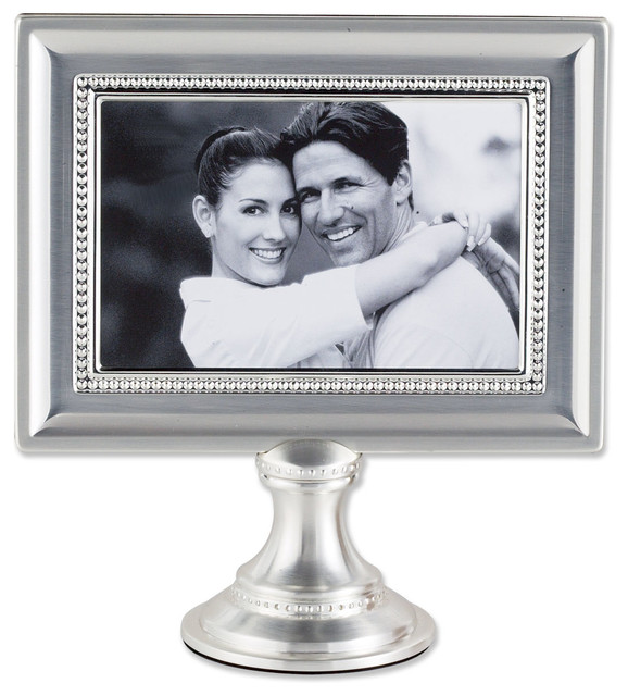 4x6 brushed silver plated metal pedestal picture frame with bead design