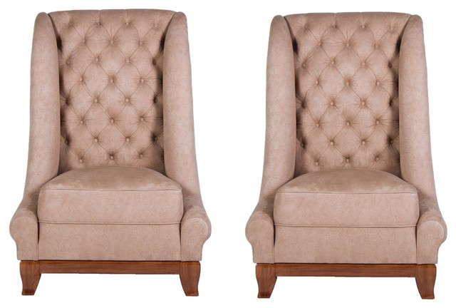 Pair of Tall Back Italian Leather Tufted Upholstered  : traditional armchairs and accent chairs from www.houzz.com size 640 x 432 jpeg 51kB