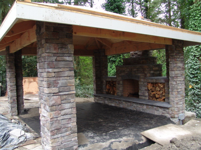 Outdoor fireplace traditional portland by brown bros for Outdoor fireplace portland oregon