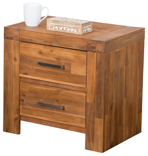 Lorcan Java Brown Solid Wood 2 Drawer Bedside Cabinet Nightstands, Set of 2 - Nightstands And ...