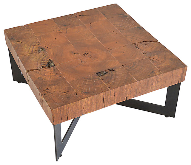 Square Wood Mosaic Coffee Table Metal Base Rustic Tables By Rotsen Furniture