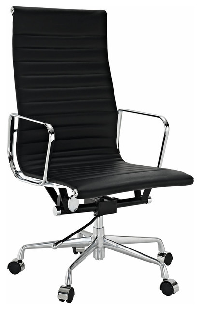 aluminum group high back office chair real leather - contemporary