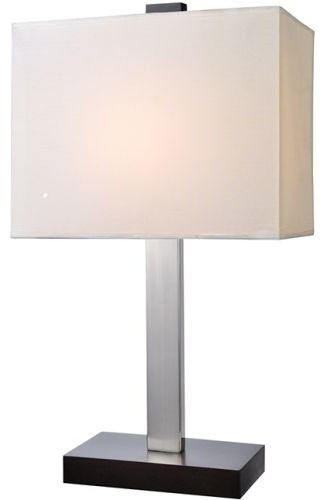 Lite Source Maddox 1-Light Table Lamp With White Fabric Shade.