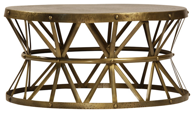 Charmant Brass Hammered Coffee Table