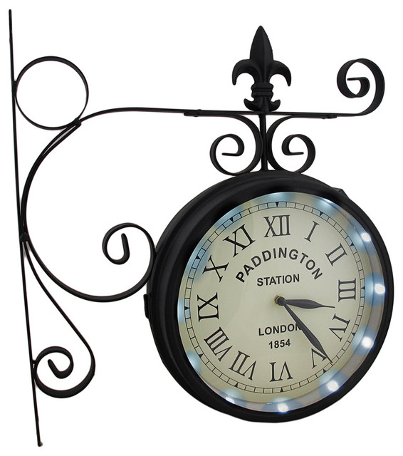 Double Sided Paddington Station Solar Powered Led Lighted Wall Clock Victorian Wall Clocks