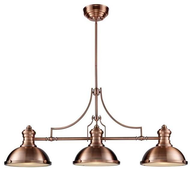 Elk Lighting 66145 3 Chadwick Transitional Island Light In Antique Copper
