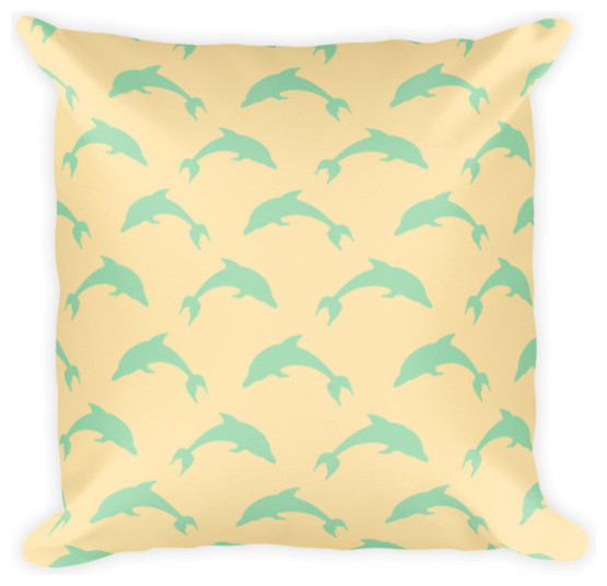 Sea Green Dolphins On Yellow Pillow - Beach Style ...