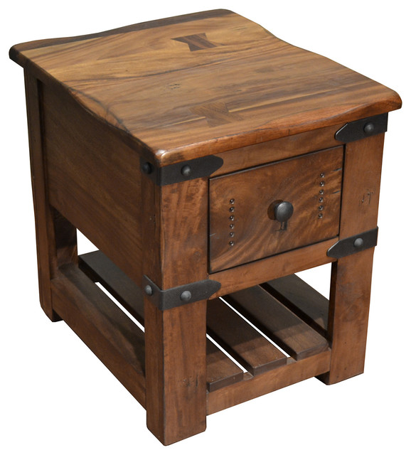 Greenview Rustic Solid Wood Live Edge Side Table With 1