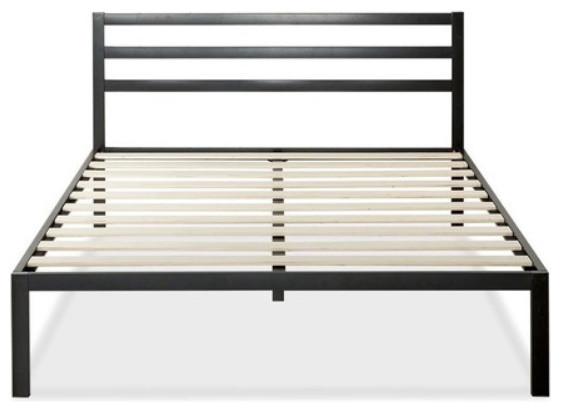 King Metal Platform Bed Frame With Headboard And Wood Slats.