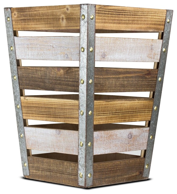 Wood And Metal Storage Crate, Large.