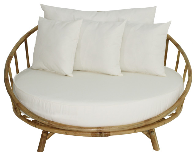 Bamboo Large Round Accent Sofa Chair With Cushion, Natural With White Cushion