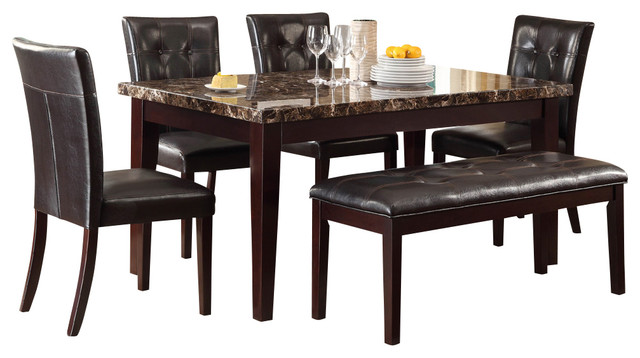 Homelegance Teague 6-Piece Faux Marble Dining Room Set, Espresso