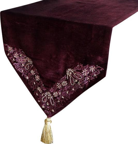 Ordinaire Designer, Decorative Table Runners, Burgundy, Purple, Gold, Cotton    Traditional   Table Runners   By The HomeCentric