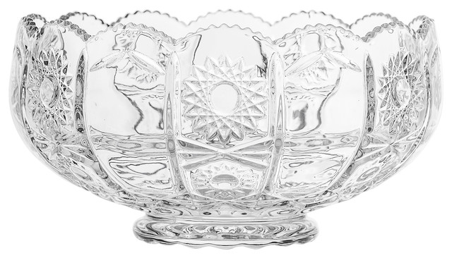 Bloomingville Clear Pressed Glass Punch Bowl