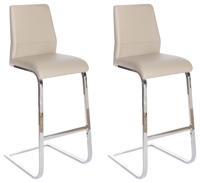 Seattle Industrial Bar Stool, Taupe, Set of 2
