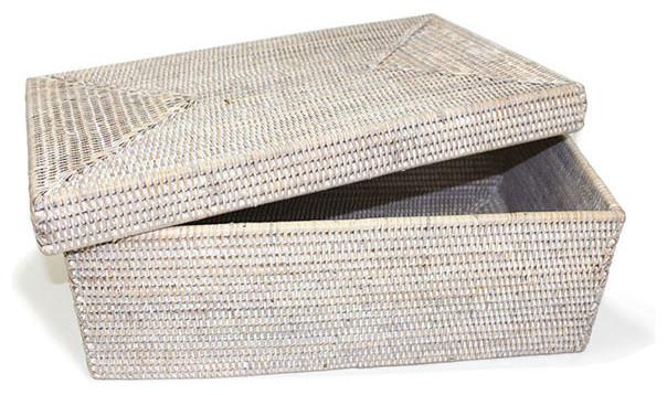 White Wash Rattan Rectangular Storage Basket With Lid, Large