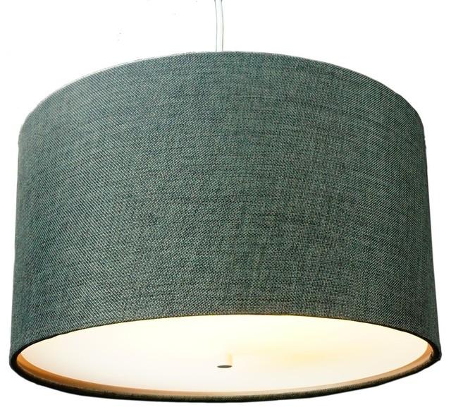 2-Light Swag Plug-In Pendant With Diffuser, Granite Gray, Burlap.
