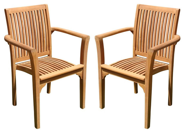 Lua Stacking Arm Chairs Teak Outdoor Dining Patio Set Of 2 Transitional Outdoor Dining Chairs By Teak Deals Houzz