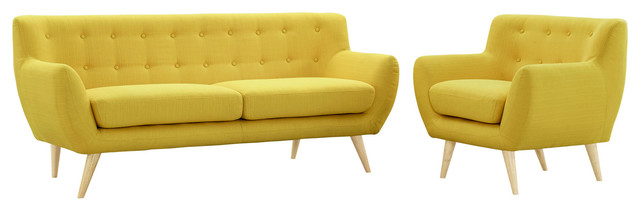 Modern Contemporary Living Room 2-Piece Set, Yellow, Fabric, Plywood.