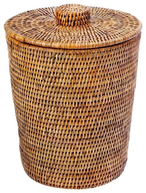 La Jolla Rattan Round Waste Basket With Plastic Insert