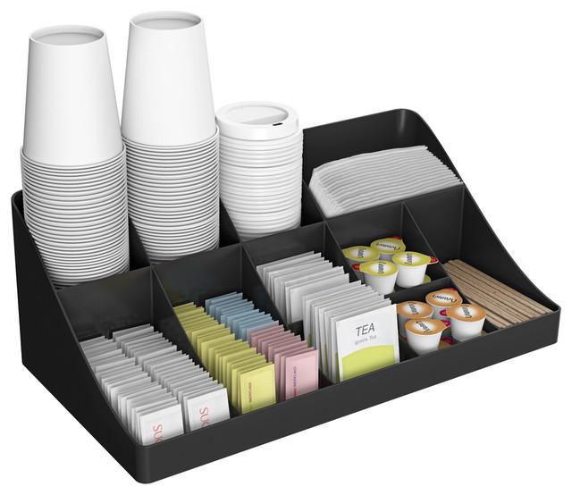 11 Compartment Breakroom Coffee Condiment Organizer Black Modern
