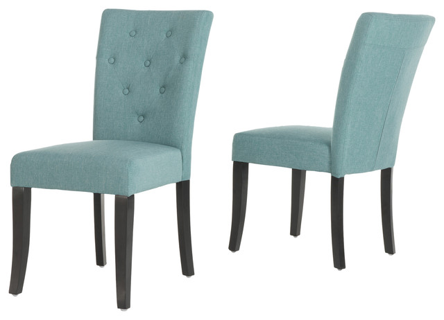 Ostrom Blue Fabric Dining Chairs, Set Of 2.