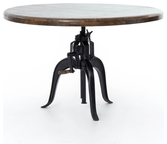 """Industrial Crank Round Dining Table 48""""."""