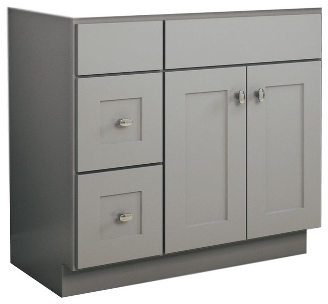 """Jsi Norwich 30"""" Light Gray Single Door Vanity With 2 Left Drawers, Cabinet Only."""