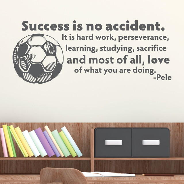 success is no accident soccer ball sports pele wall quotes decal