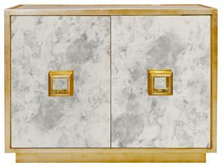 Chantal Hollywood Regency Antique Gold Mirror Cabinet