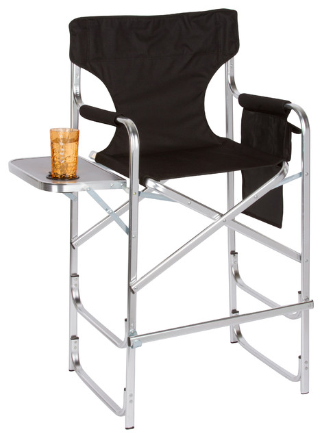 aluminum frame tall metal director 39 s chair with side table black contemporary outdoor. Black Bedroom Furniture Sets. Home Design Ideas