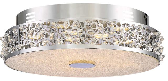 Quoizel Platinum Collection Amber Glow Flush Mount - Polished Chrome.