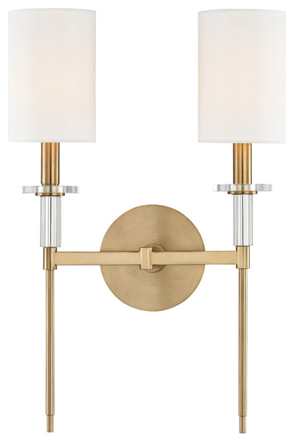 Wall Sconce 2 Light With Aged Brass Metal Crystal Faux